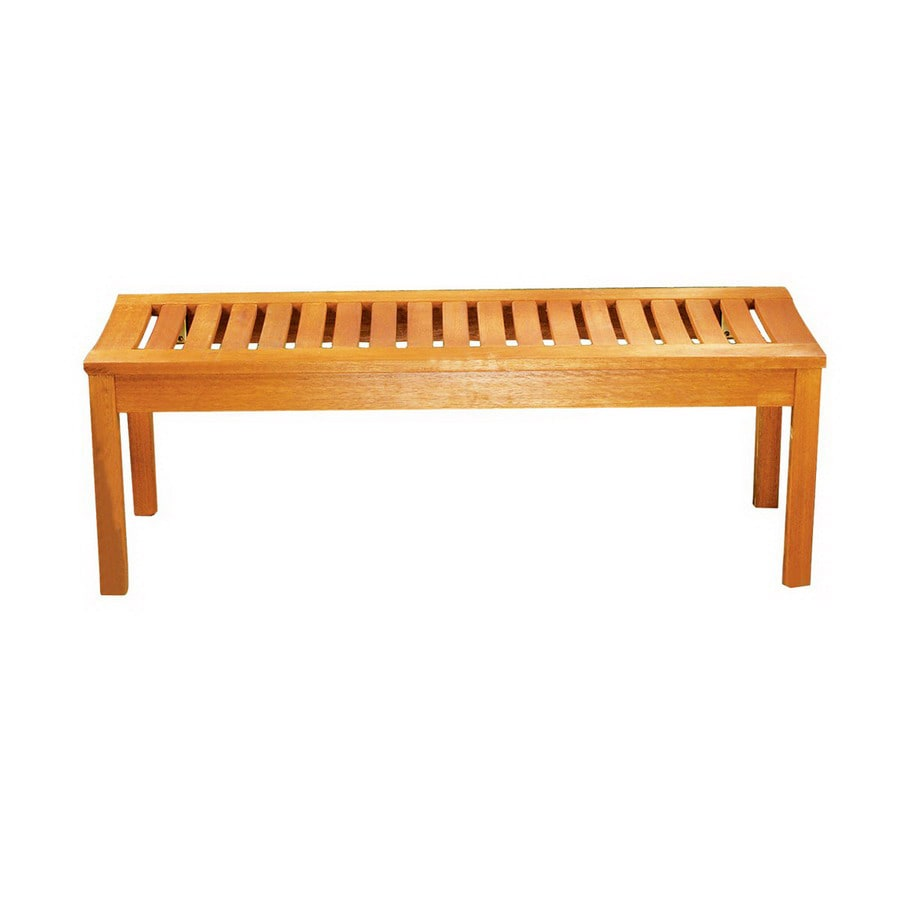 achla designs 15 75 in w x 48 in l natural oil eucalyptus patio bench