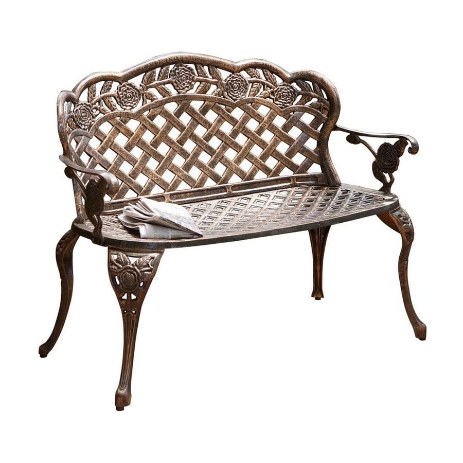 Shop best selling home decor lucia 24 in w x 45 5 in l antique copper aluminum patio bench at Decorative benches