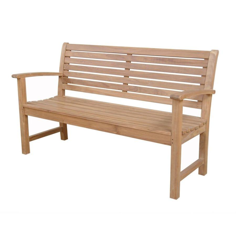 Shop Anderson Teak Victoria In W X In L Natural Teak Patio - Teak patio bench