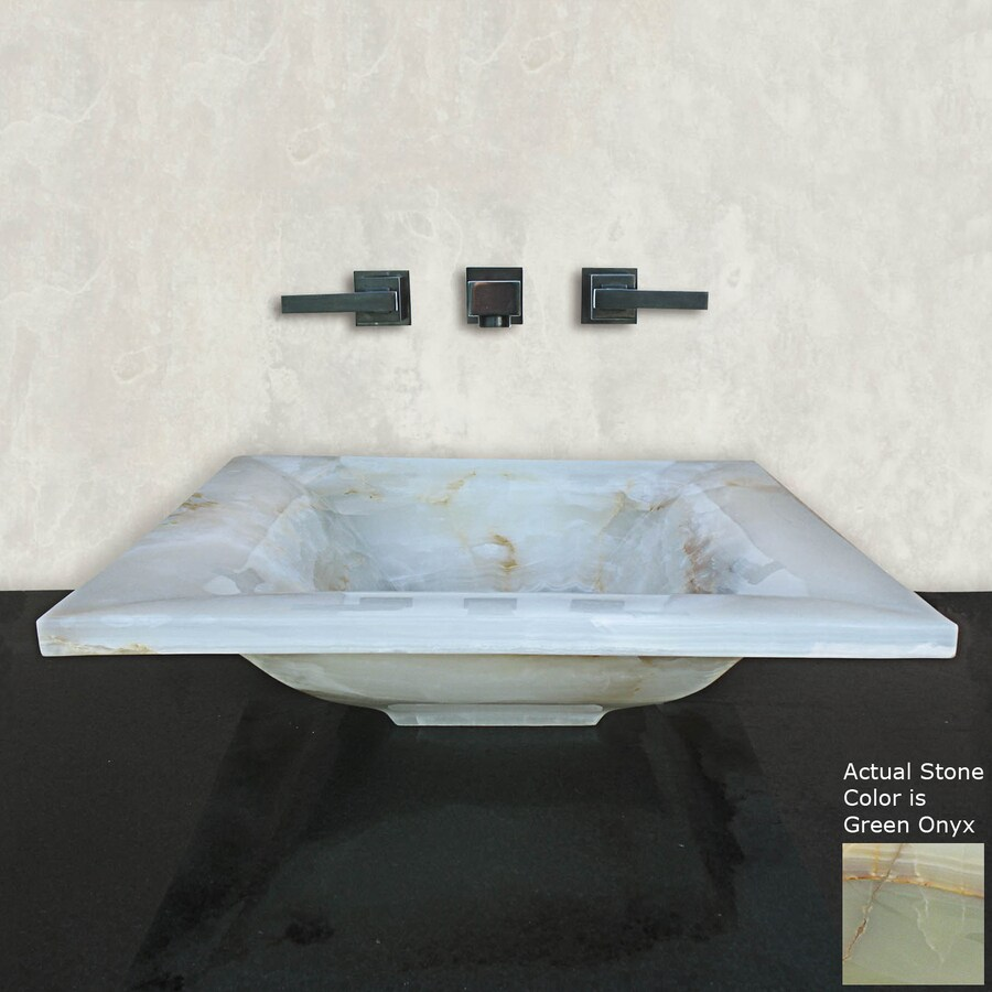 Terra-Acqua Montecito Green Onyx Stone Vessel Rectangular Bathroom Sink