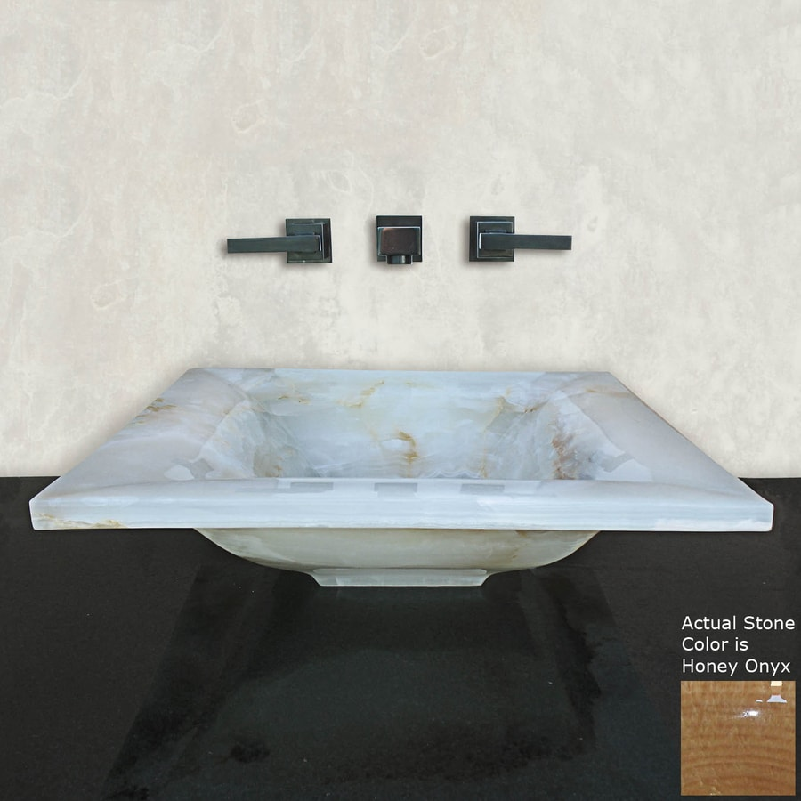Terra-Acqua Montecito Honey Onyx Stone Vessel Rectangular Bathroom Sink