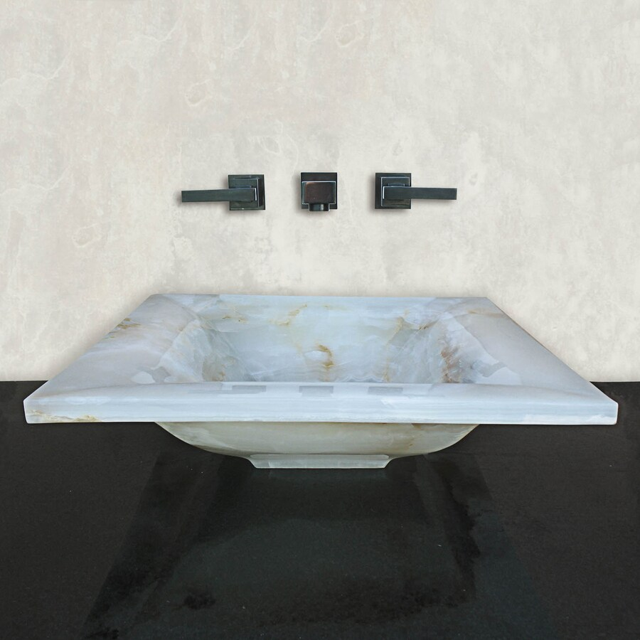 Terra-Acqua Montecito White Onyx Stone Vessel Rectangular Bathroom Sink