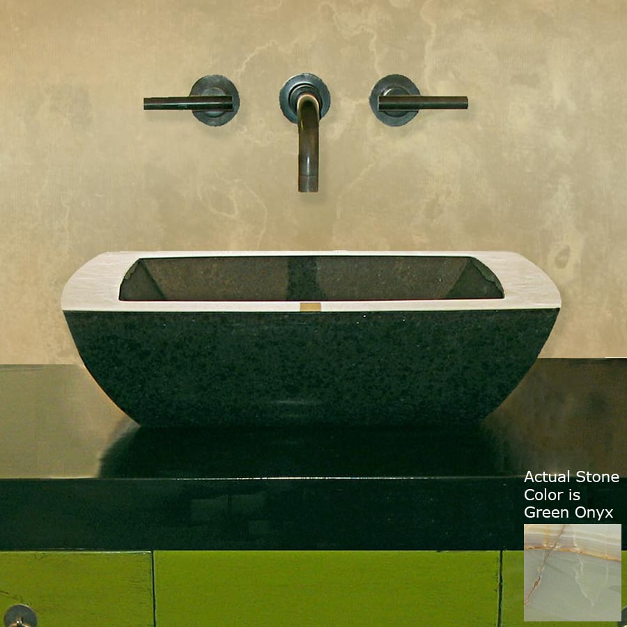 Terra-Acqua Montecito Green Onyx Stone Vessel Square Bathroom Sink
