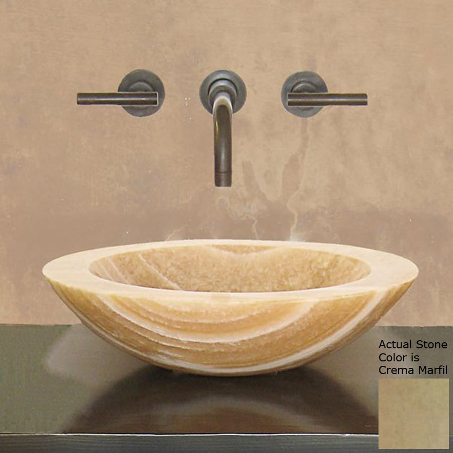 Terra-Acqua Montecito Crema Marfil Stone Vessel Round Bathroom Sink