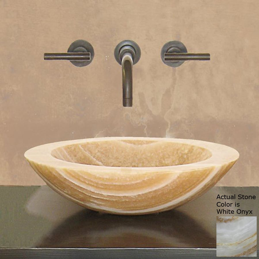 Terra-Acqua Montecito White Onyx Stone Vessel Round Bathroom Sink
