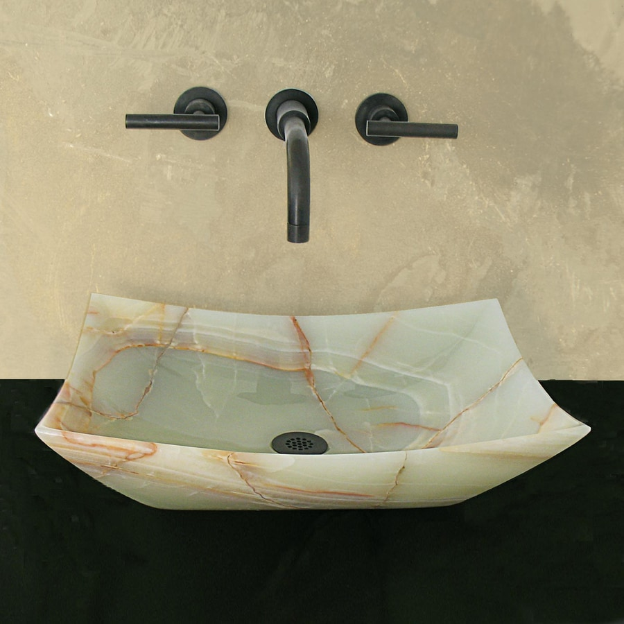 Terra-Acqua Montecito Green Onyx Stone Vessel Rectangular Bathroom Sink