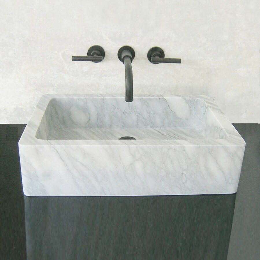 Marble Sinks Bathroom : ... Montecito Carrara Marble Vessel Rectangular Bathroom Sink at Lowes.com