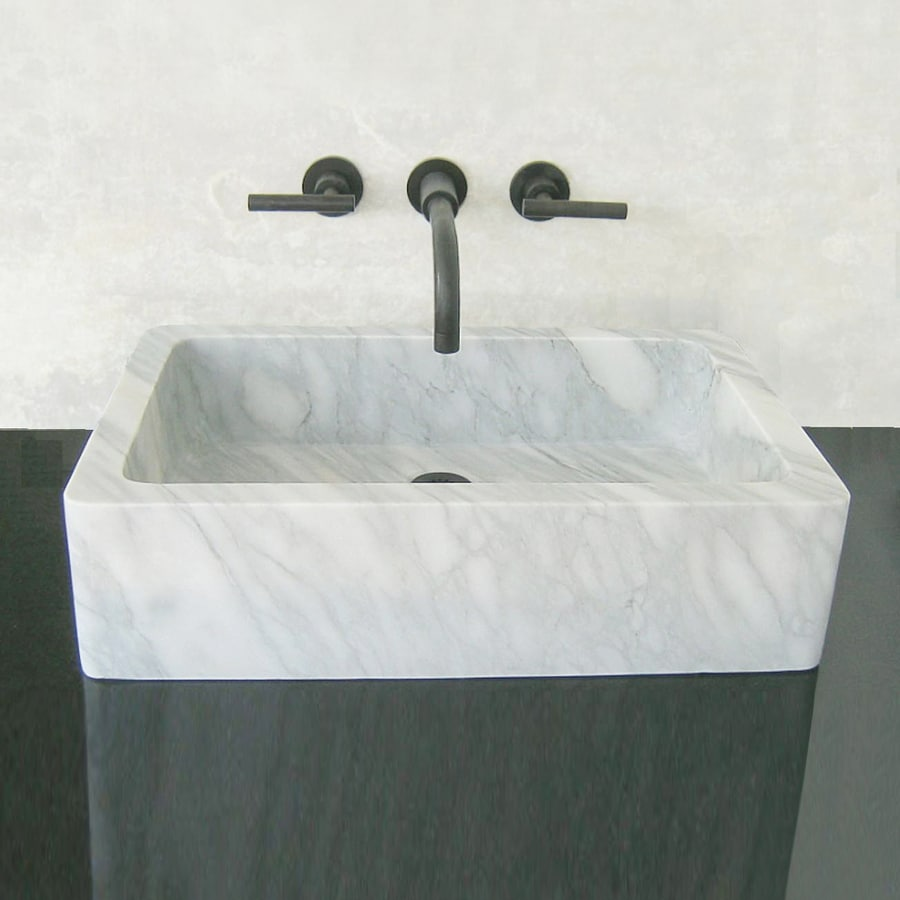 ... Montecito Carrara Marble Vessel Rectangular Bathroom Sink at Lowes.com