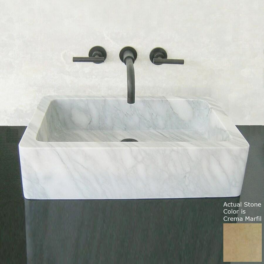 Terra-Acqua Montecito Crema Marfil Stone Vessel Rectangular Bathroom Sink