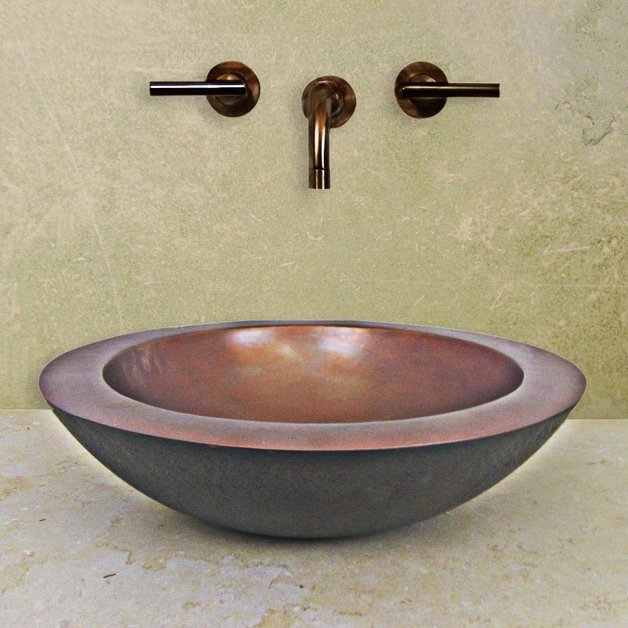 Terra-Acqua Santa Ynez Smooth Weathered Copper Vessel Round Bathroom Sink
