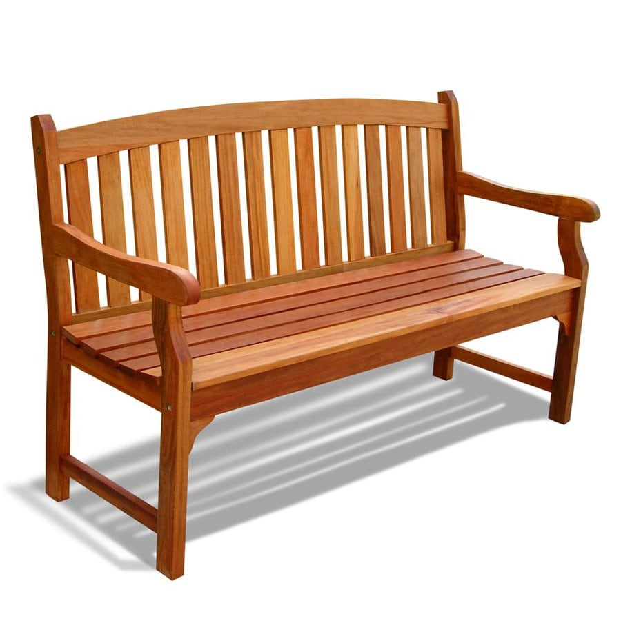 Shop vifah marley 25 in w x 60 in l eucalyptus patio bench at Lowes garden bench