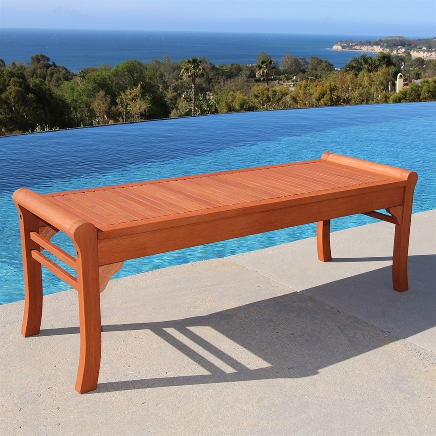 VIFAH 18-in W x 59-in L Eucalyptus Patio Bench