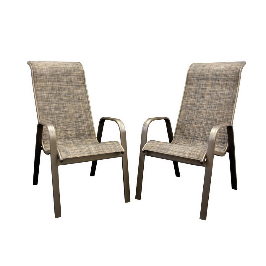 Outdoor Greatroom Company Set Of 2 Aluminum Sling Seat Patio Chairs
