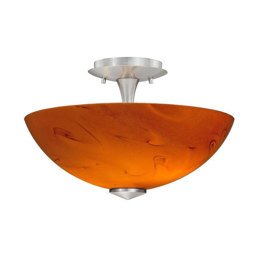 Cascadia Lighting Milano 13.125-in W Satin Nickel Honey Ripple Marbleized Art Glass Semi-Flush Mount Light