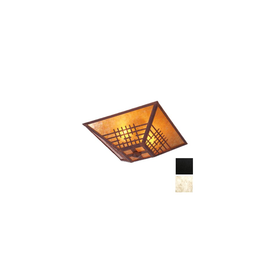 Steel Partners 17-in W Black Semi-Flush Mount Light