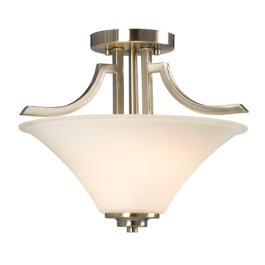 Galaxy Franklin 14.5-in W Brushed Nickel Frosted Glass Semi-Flush Mount Light