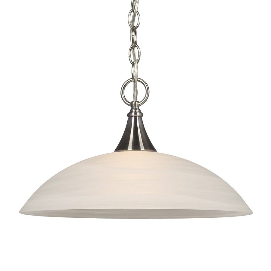 Galaxy Metro 15.5-in Brushed Nickel Industrial Single Marbleized Glass Dome Pendant