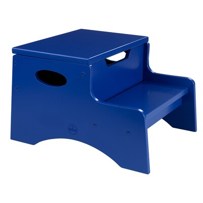 Terrific 2 Step 90 Lbs Capacity Blue Wood Step Stool Gmtry Best Dining Table And Chair Ideas Images Gmtryco