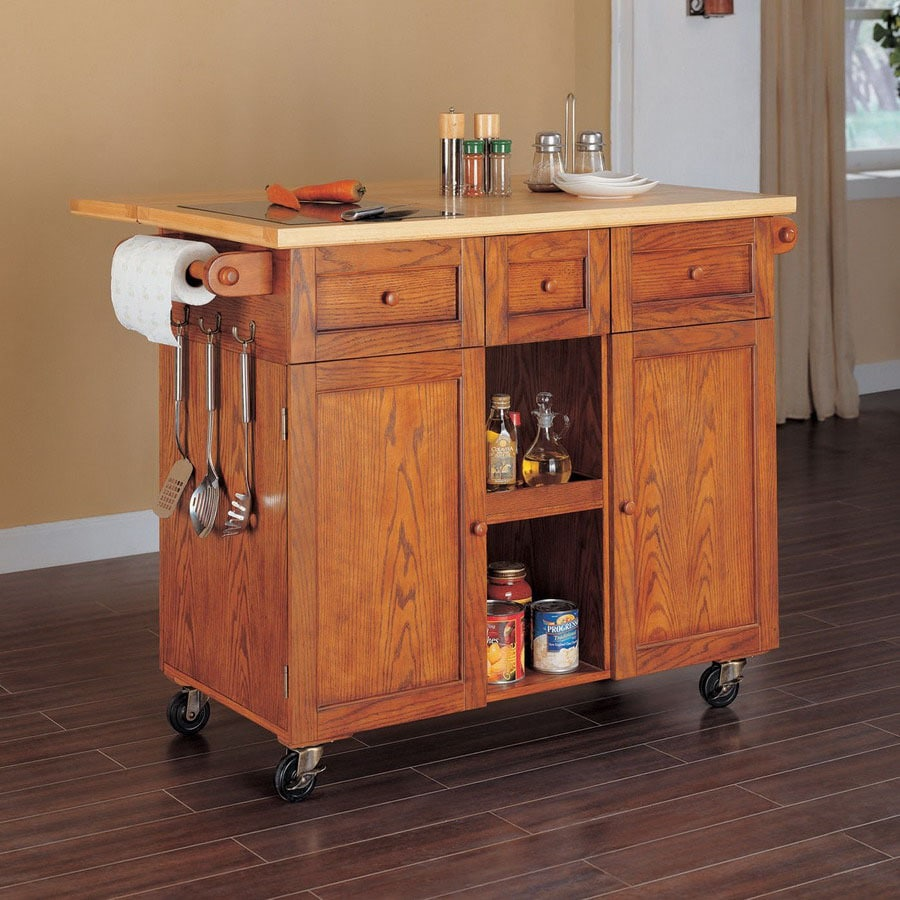 Powell 48.38-in L x 22.13-in W x 36.5-in H Medium Oak Kitchen Island with Casters