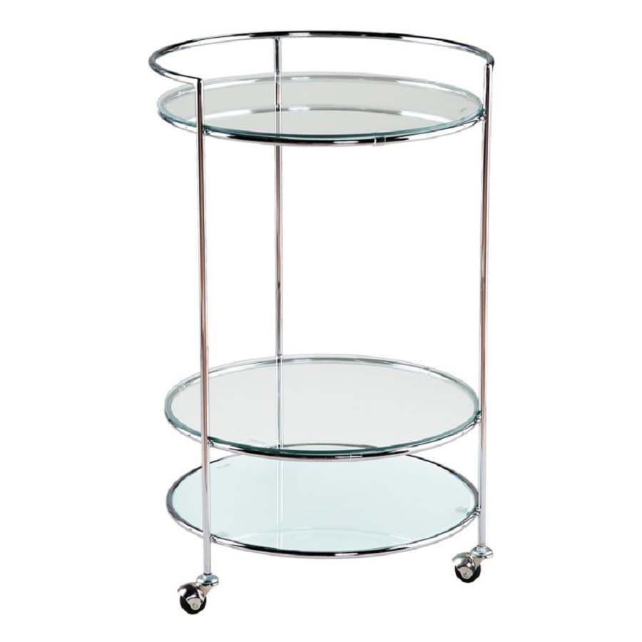 Eurostyle Chrome/Clear Round Kitchen Cart
