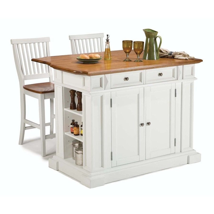 Home Styles 49.75-in L x 26.5-in W x 36.5-in H White Kitchen Island with 2 Stools