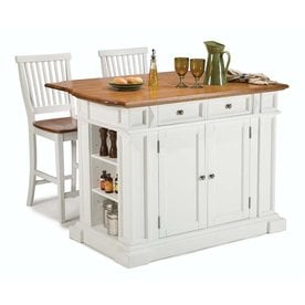 Home Styles White Midcentury Kitchen Islands 2 Stools
