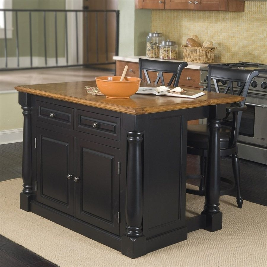 Home Styles 48-in L x 25-in W x 36-in H Black Midcentury Kitchen Island with 2-Stools