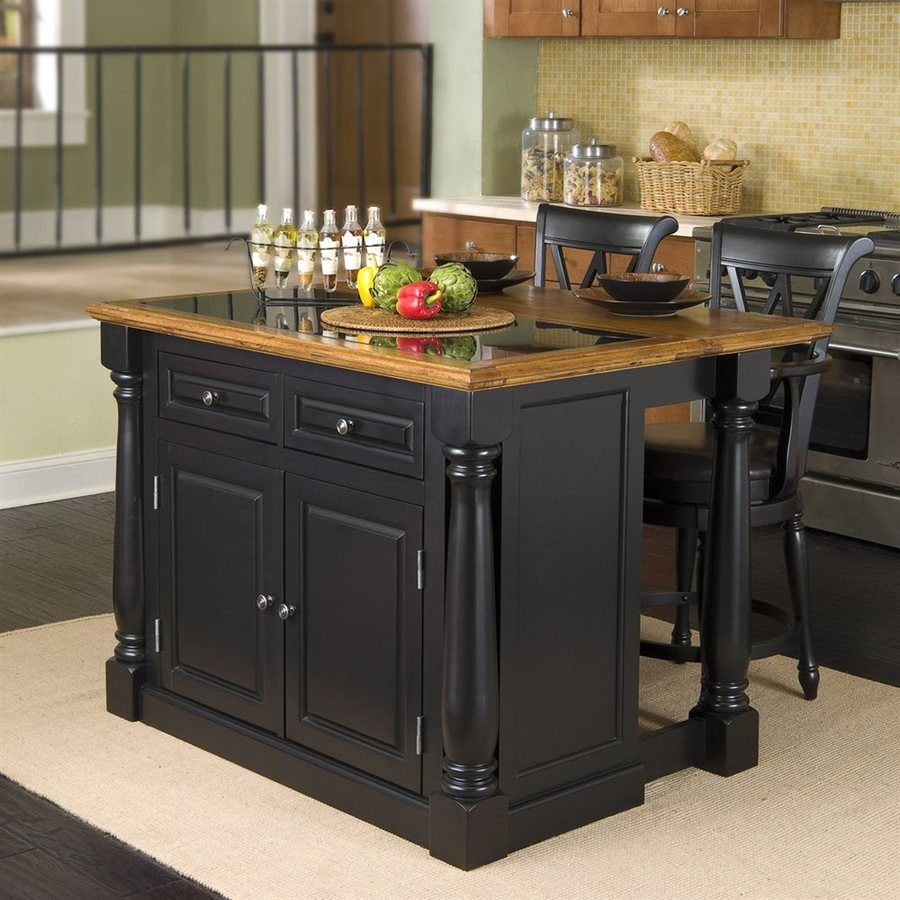 Home Styles Black Midcentury Kitchen Island with 2-Stools