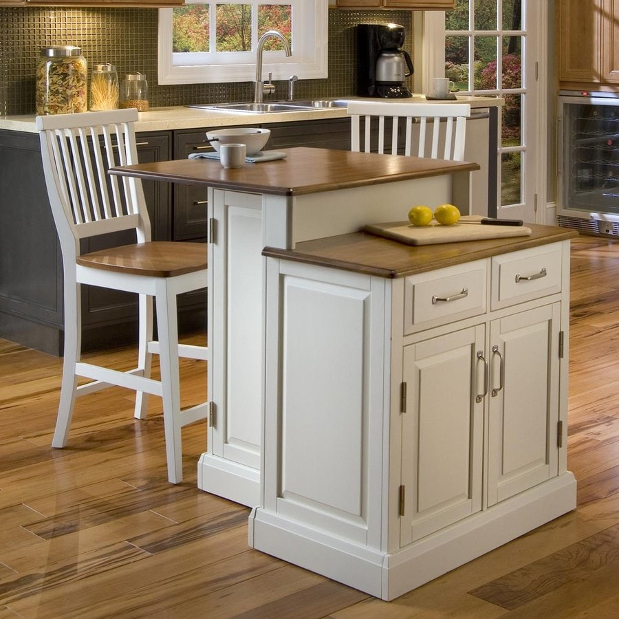 Home Styles 39.25-in L x 30-in W x 36.5-in H White Kitchen Island with 2 Stools