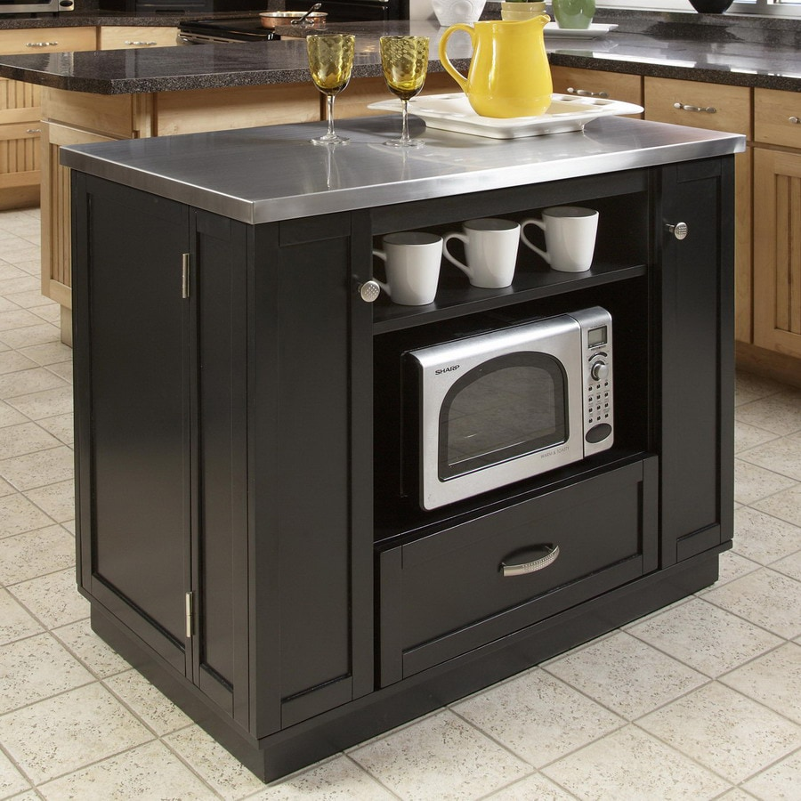 Shop Home Styles Black Scandinavian Kitchen Carts At Lowes Com: Shop Home Styles 42-in L X 24 1/4-in W X 36-in H Black