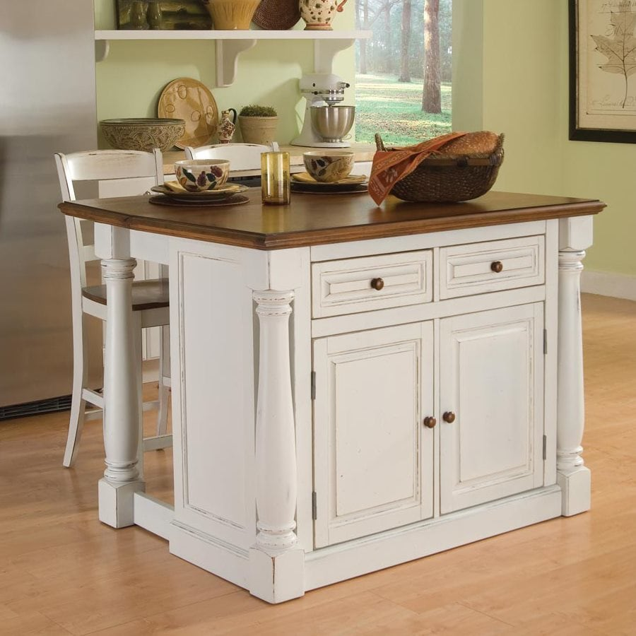 shop home styles white midcentury kitchen island with 2-stools at