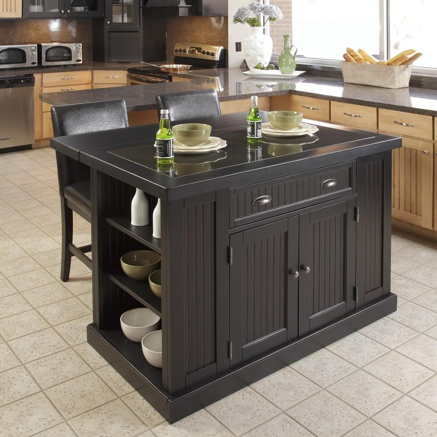Shop Home Styles Black Scandinavian Kitchen Carts At Lowes Com: Shop Home Styles Black Midcentury Kitchen Islands 2-Stools