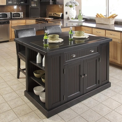 Astounding Home Styles Black Midcentury Kitchen Islands 2 Stools At Pabps2019 Chair Design Images Pabps2019Com