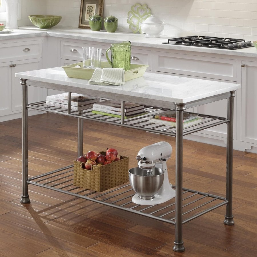 Shop Home Styles 52 In L X 25 In W X 36 In H Gray Industrial Prep Tables At