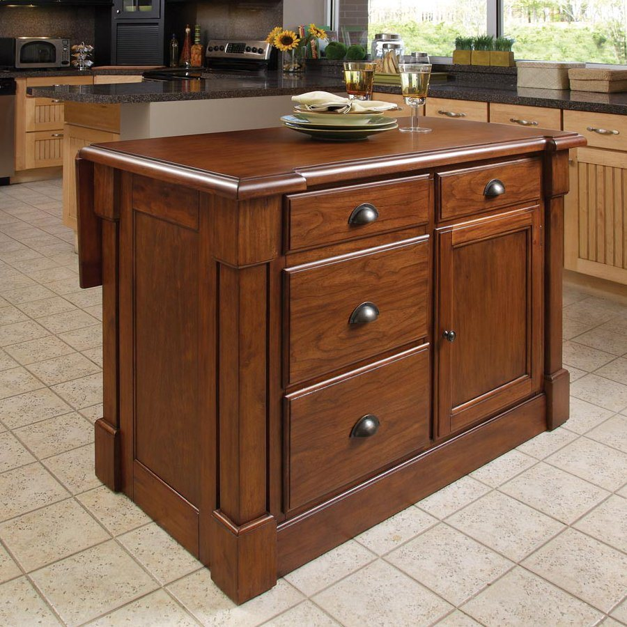 Home Styles 48-in L x 26.75-in W x 36-in H Rustic Cherry Kitchen Island