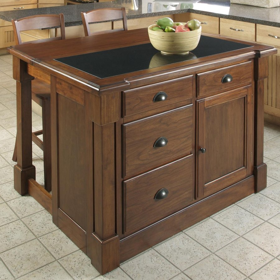 Home Styles 48-in L x 39-in W x 36-in H Brown Midcentury Kitchen Island with 2 Stools