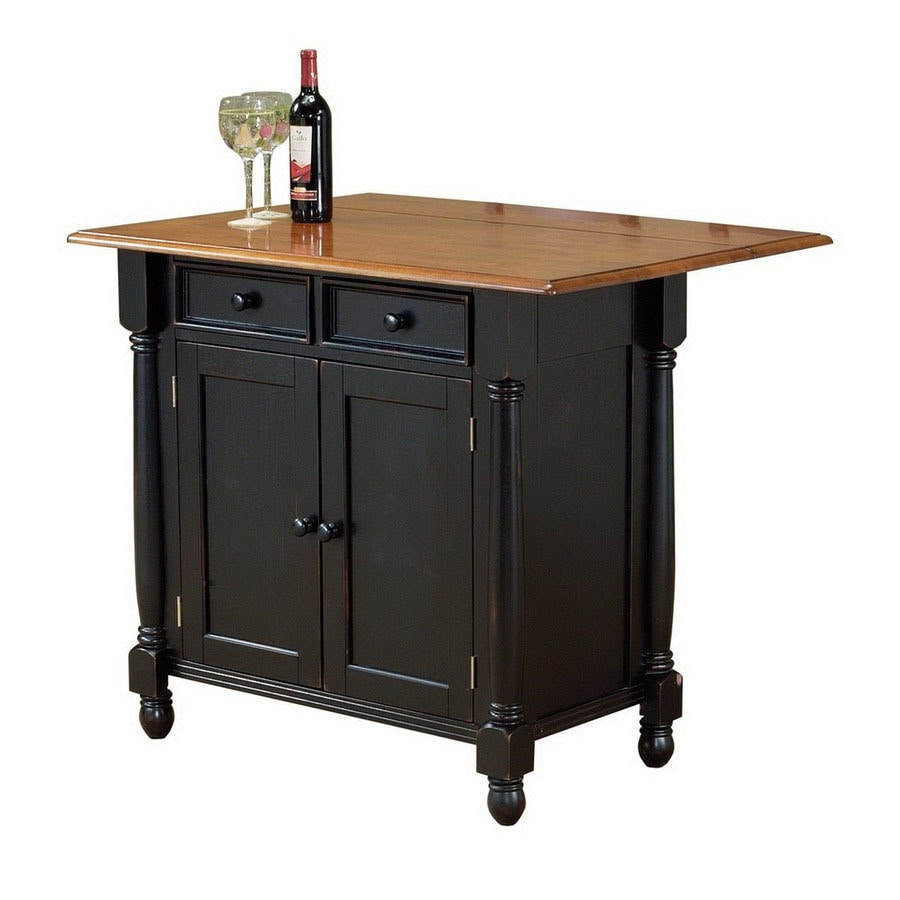 kitchen islands on casters shop sunset trading black casual kitchen island at lowes 5260