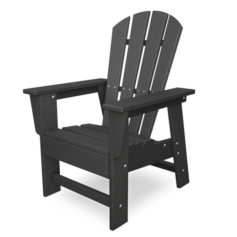 Shop Polywood Kids Slate Grey Plastic Adirondack Chair At