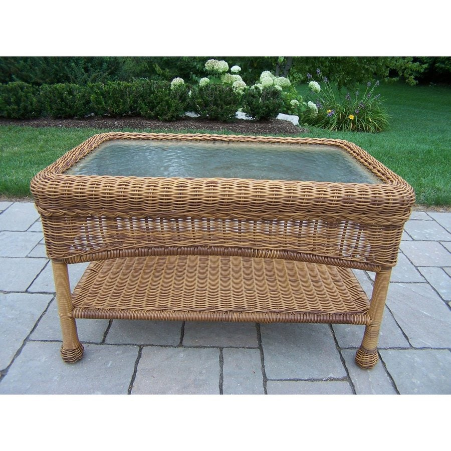 Oakland Living Resin Wicker 17.5-in W x 29-in L Rectangle Wicker Coffee Table