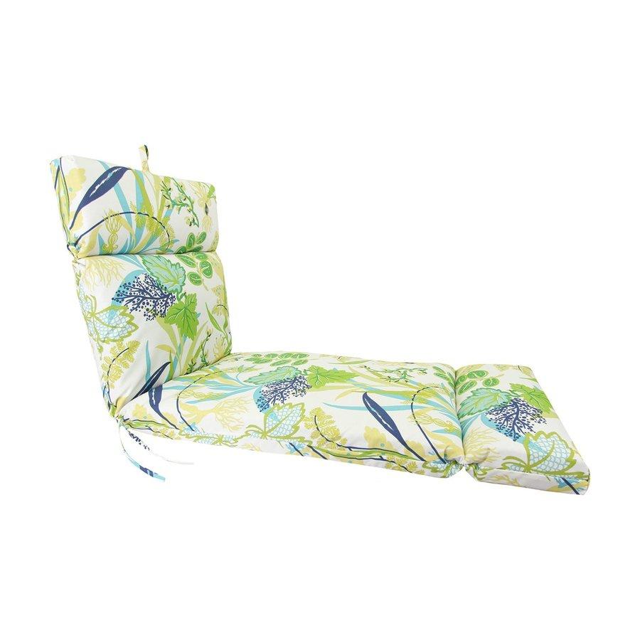 Jordan Manufacturing Rectangle Floral Aquamarine Patio Chair Cushion