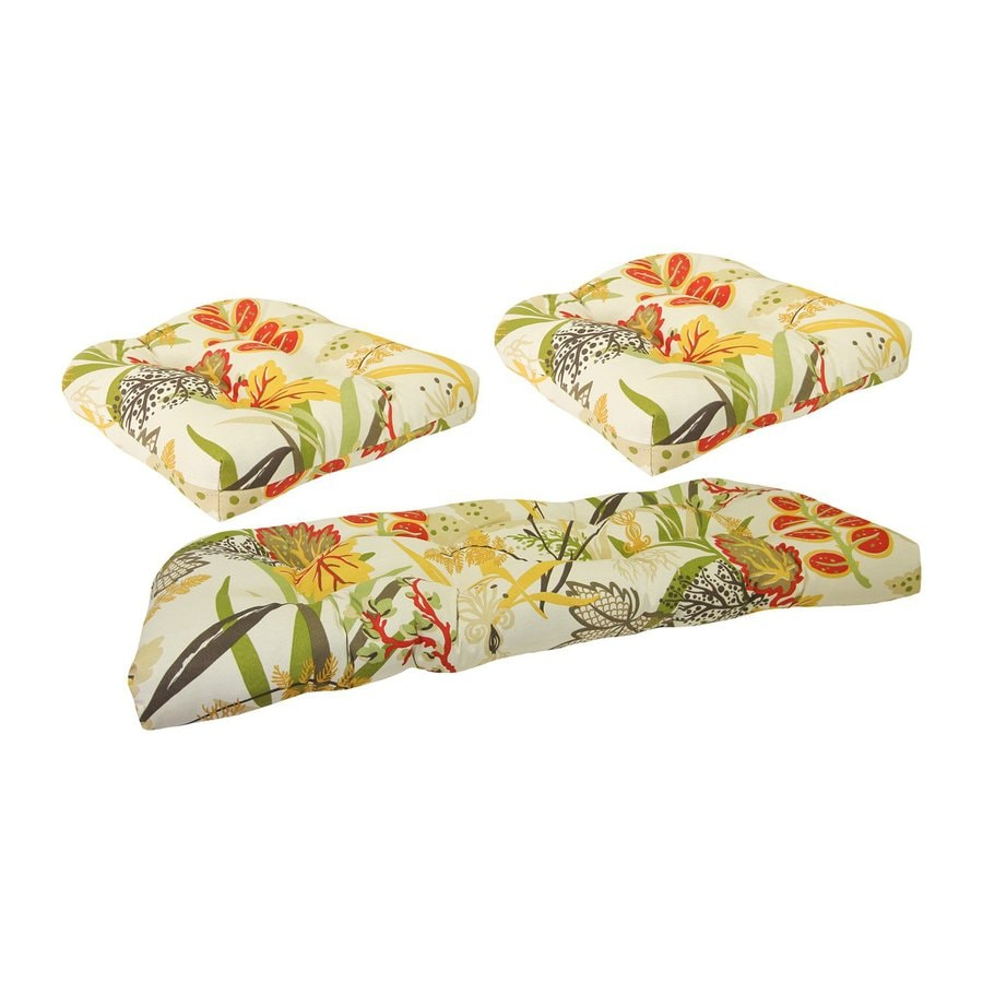 Jordan Manufacturing Square Floral Seaweed Patio Chair Cushion