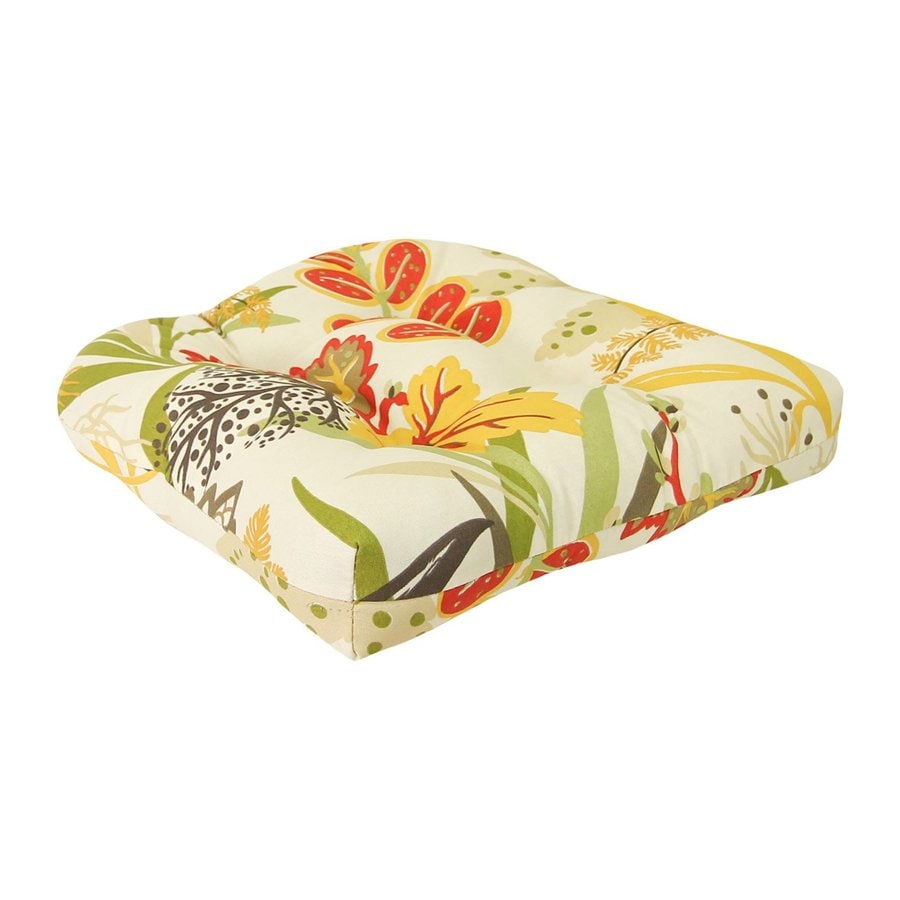 Jordan Manufacturing Square Floral Seaweed Unbranded Standard Patio Chair Cushion