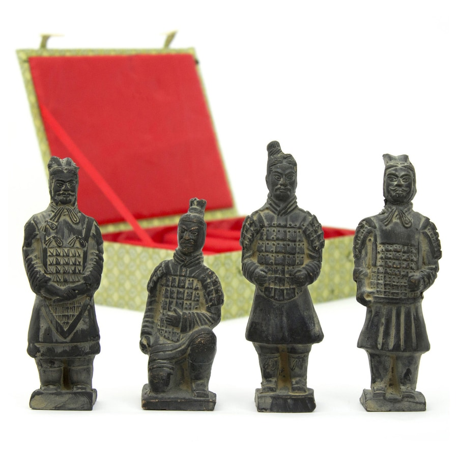 Oriental Furniture Set of 4 Resin 6-in Terra Cotta Warrior Statues