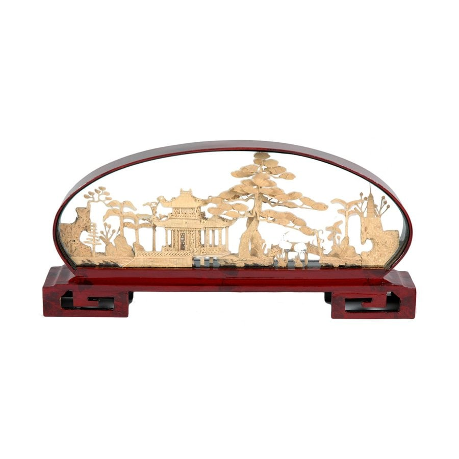 Oriental Furniture 6inch Pine Pagoda Cork Carving Tabletop Statue