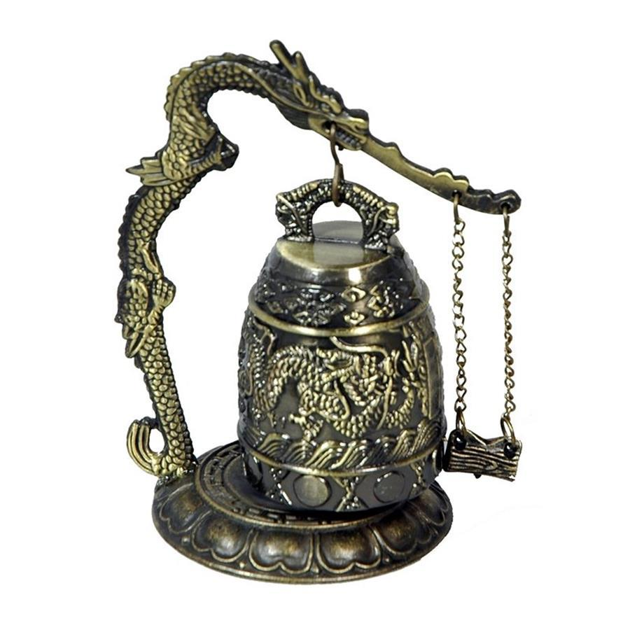 Oriental Furniture 5inch Dragon Gong Tabletop Statue