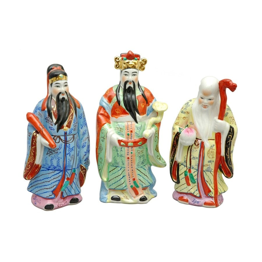 Oriental Furniture 10inch Tao Lucky Gods Tabletop Statue (Set of 3)