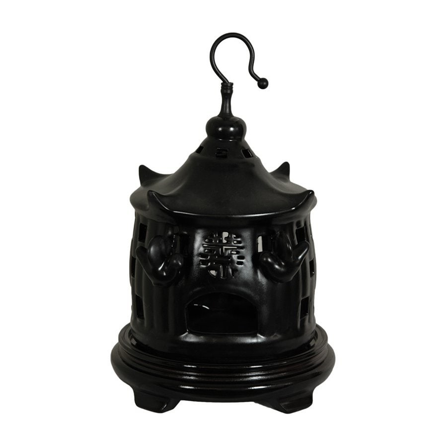 Oriental Furniture Solid Black 11inch Chinese Porcelain Bird Cage Tabletop Statue