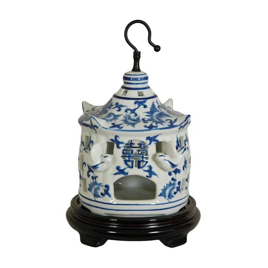 Oriental Furniture Floral Blue and White 11inch Chinese Porcelain Bird Cage Tabletop Statue