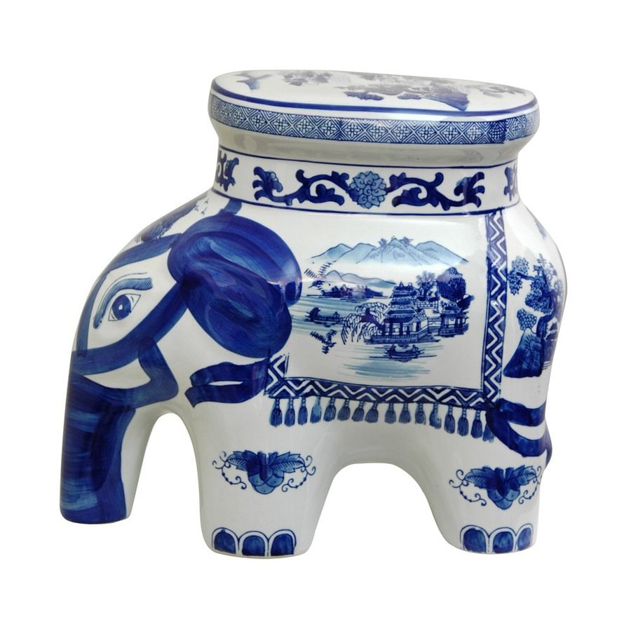 Oriental Furniture Landscape Blue and White 13.5inch Chinese Porcelain Elephant Stool Tabletop Statue