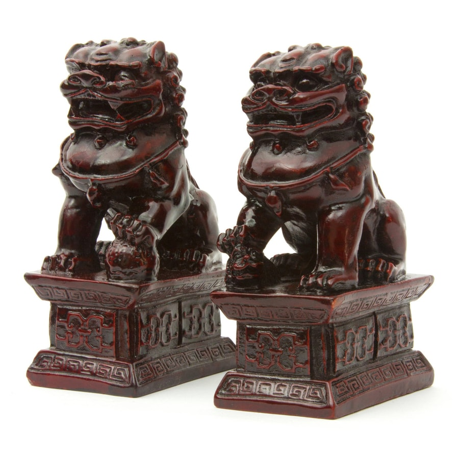 Oriental Furniture Set of 2 Resin Fu Dog Statues
